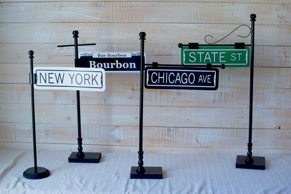 Custom Street Sign Table Numbers by CathysCustomPrints on Etsy  (Stands by http://www.etsy.com/shop/Thestandshop)