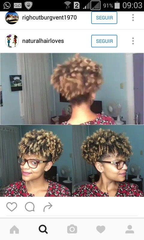 Bastar fazer um afro puff,  deixar a franja solta e coloca-lá em direção ao centro da testa, com o auxílio de um grampo. E voalá ..  #cabelo Lindo #cabelocrespo #cabelobom #cabelodescolorido #penteado #cabelo curto #penteado #afropuff #franjacacheada #negralinda