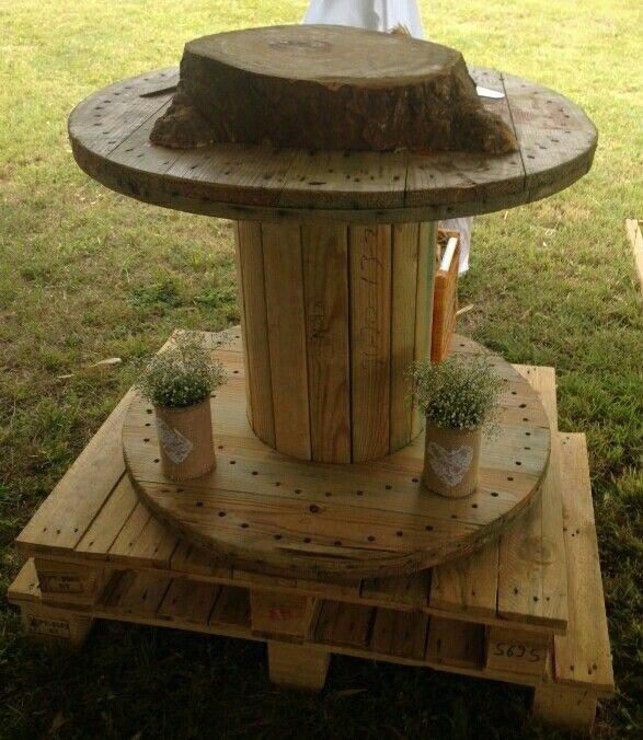 Boda de jardin mesa para el bizcocho en carrete y paletas - Mesas de madera de jardin ...