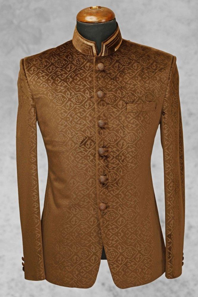 Light brown charming velvet suit with bandhgala collar-ST507 - Jodhpuri Suits - Men's Suits - Men's Wear