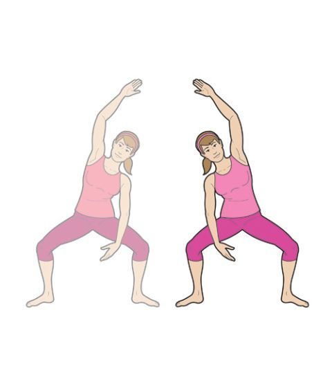 Side Squat Reach: This simple move works your abs, waist, shoulders, back, and thighs. Here you'll find an easy workout you can do at home.