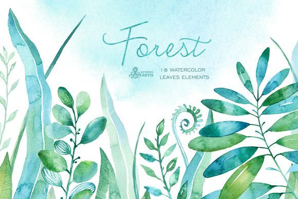Forest watercolor leaves by OctopusArtis on @creativemarket