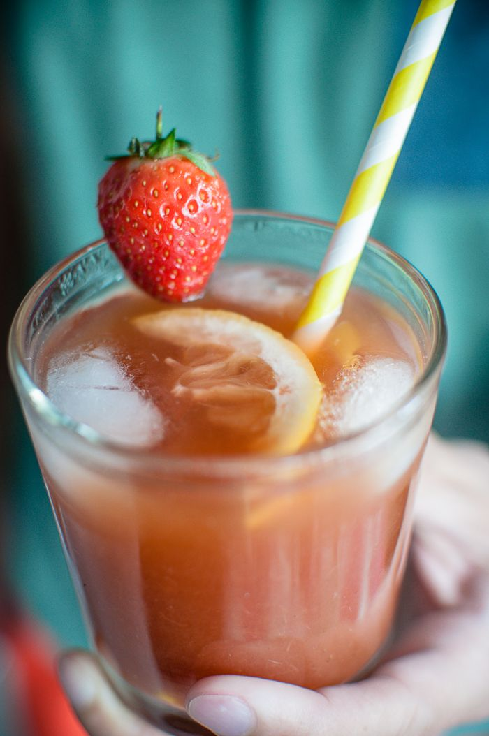Strawberry and Lemon Agua Fresca with a shot of Cachaca #drinks #booze #cincodemayo