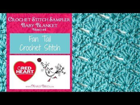 Fan Tail Stitch for the Crochet Stitch Sampler Baby Blanket Crochet Along | Red Heart
