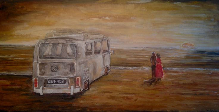 Old wolswagen  car  Acrylic  Private collections Netherlands