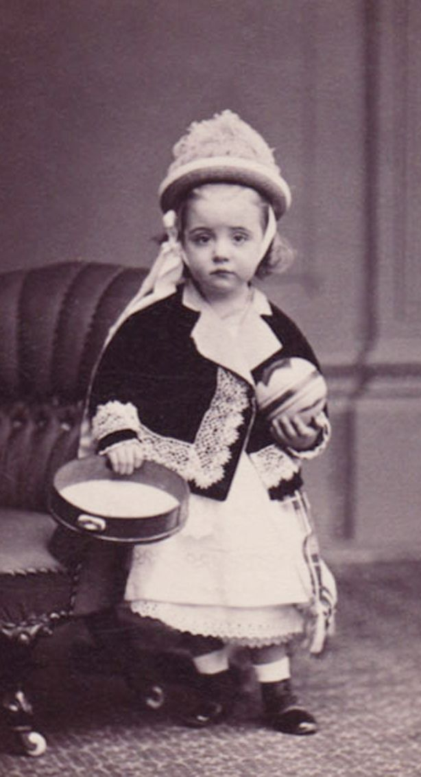 ::::::::::: Antique Photograph :::::::::::: Precious young girl with her tambourine and ball.