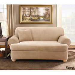 sure fit stretch stripe tcushion loveseat slipcover overstock shopping big discounts on sure fit loveseat slipcovers