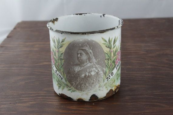 1897 Queen Victoria Commemorative Mug  Diamond by LoAndCoVintage