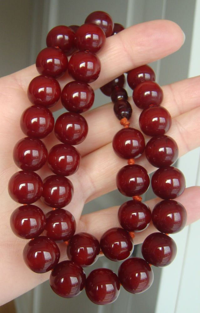 Vtg 1920s Cherry Amber Bakelite Round Uniform 35 Beads Necklace for Prayer Set £726.00 (13B)