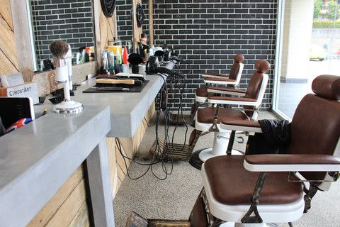 CimentArt polished concrete look counter and work bench at the Bearded Barber in Silver by CimentArt Australia