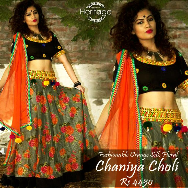 Try out silk floral #Chaniyacholi that will make you look fabulous in this #Navaratri!