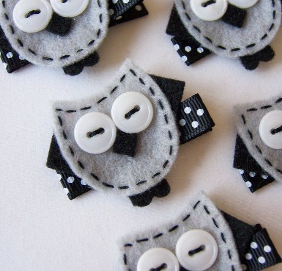 Small Grey Felt Owl Hair Clip - Cute Black and Silver Gray Owl Felt Clippies - Perfect for fall and back to school. $3.25, via Etsy.