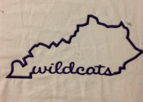 Kentucky state applique with wildcats signature embroidery design