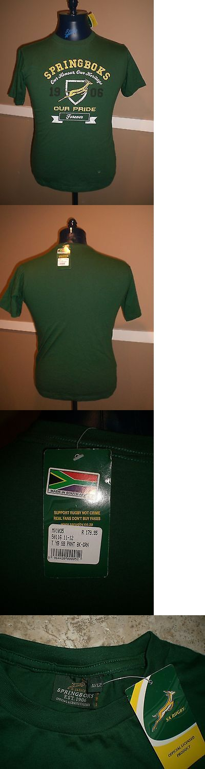 Rugby 21563: Asics South Africa Springboks Green Rugby T-Shirt Jersey Youth Size 11 12 Nwt!! -> BUY IT NOW ONLY: $32.49 on eBay!