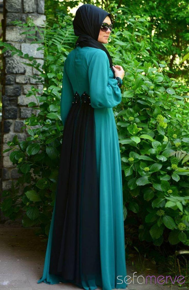 Sefamerve Tesettür Abiye Elbiseler PDY 4223-01 Petrol