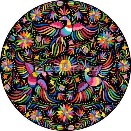 Télécharger - Vector broderie mexicain rond motif — Illustration #112307198
