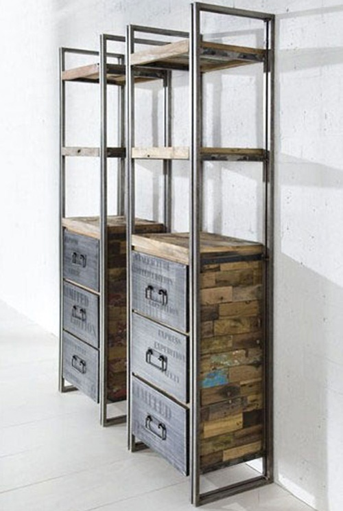 Etageres - Hummmm...rustic + contemporary + functional + lots of storage and display area - small footprint...I like these...a lot.