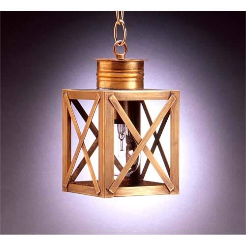Northeast Lantern Small Dark Brass X Bar Hanging Outdoor Lantern With Seedy Marine Glass 5012 Db Med Smg