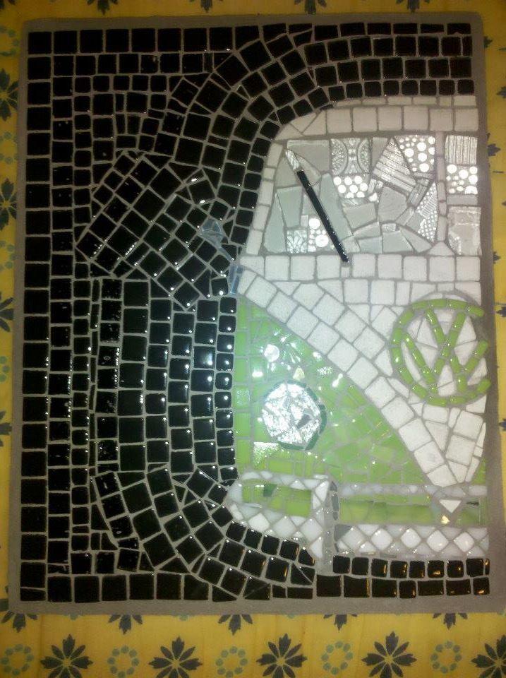 VW Bus, 12/12, Volkswagen, mosaic, art, tiles, vintage by Alli Ockinga