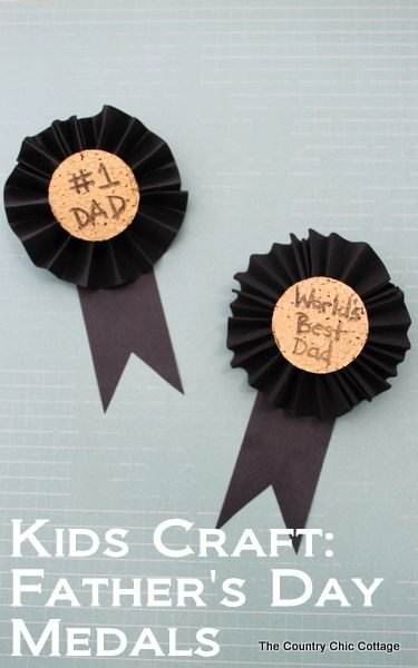 These Fathers Day medals are a great craft for kids to help make for Dad.  Turn the kids loose on the painting and text while you fold the ribbon and add a pin.  Dad will be proud to wear these medals on his big day!