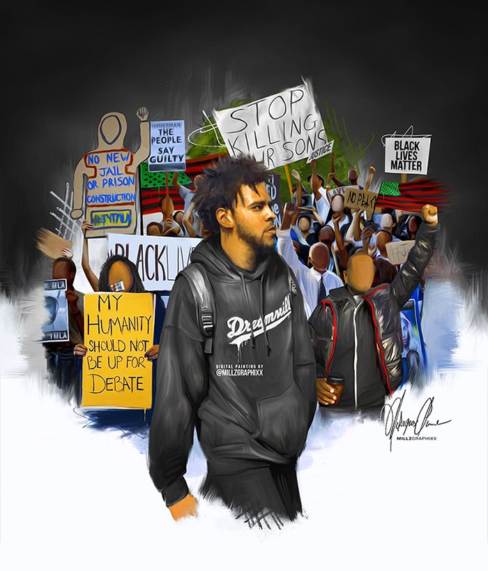 "missladymillz: "" J.Cole Million Man March Digital Painting I Did Posters are now available on www.POHlifestyle.com """