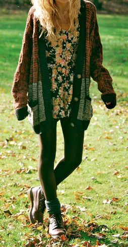 Pretty chunky sweater with tights and boots. This is perfect for the fall layered with a summer dress
