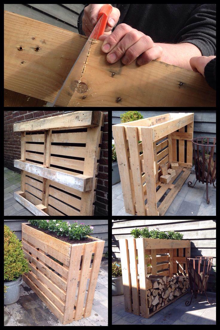 Plantenbak/haardhout kast gemaakt van pallets