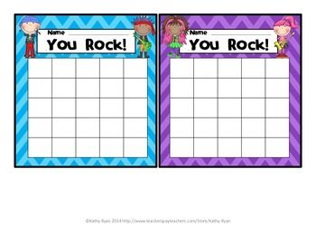FREEBIE! Use these cute charts to encourage Rock Star behavior in your classroom. Small enough to put on each child's desk. Use them as a whole class positive reinforcement, or for individual students who need support with behavior management. Coordinates with my Rock Star Theme Awards and Class Decor Pack.