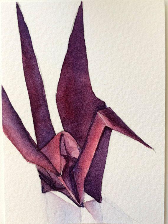 Purple paper crane (crane no 7) - watercolour ACEO painting by Zoya Makarova
