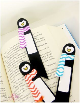 DeNami Winter Penguin Bookmarks by @Damask Love