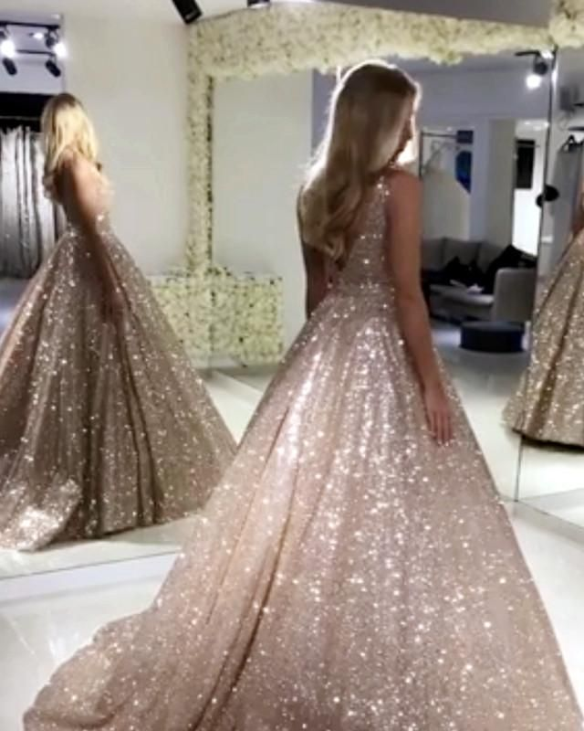 318c87ee370 Glitter And Sparkly Sequin Dress Featuring V-neck And Zipper back. Perfect  For Prom,Evening,Formal Wedding,Quinceanera Or Any Other Special Occasions !
