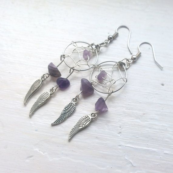 Dreamcatcher Earrings with Amethyst gemstones.  ♥ Silver feather charms.  ♥ In Native American culture it is believed that a dream catcher can