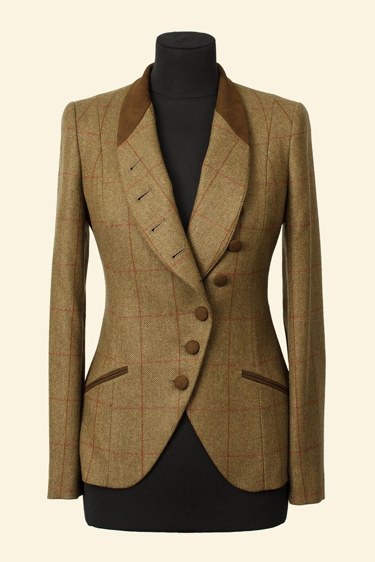 Green Herringbone Windowpane Borders Tweed Emma Jacket Walker Slater Tweed Specialists