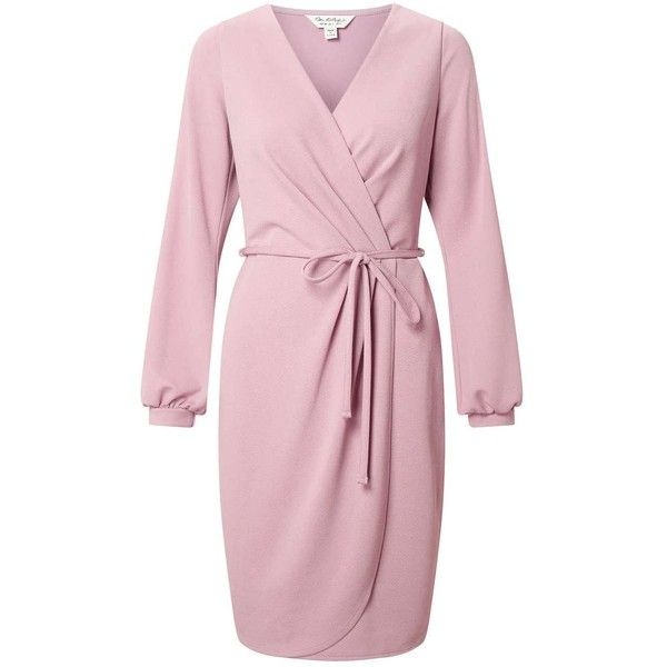 Miss Selfridge Split Sleeve Wrap Dress ($76) ❤ liked on Polyvore featuring dresses, pink, night out dresses, holiday party dresses, pink dress, jersey wrap dress and wrap dress