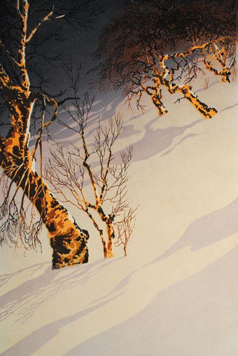 """✨ Oscar Droege (1898-1983) - Norwegische Birken, ca. 1930, Farb-Holzschnitt, signiert, 14 1/4 x 9 1/2"""" ::: Norwegian Birches, Colour Woodcut, signed in pencil"""