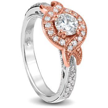 18ct rose and white gold wedding set round Diamonds