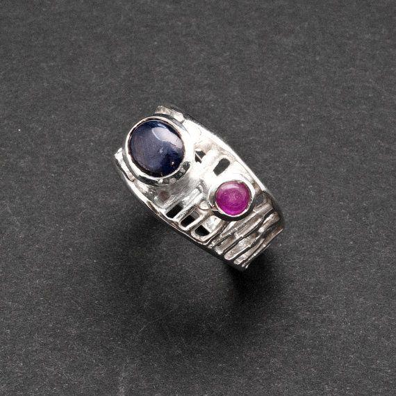 Blue Sapphire Ring Geometric 925 Silver Wide Band by SunSanJewelry