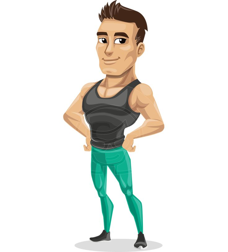 Jim is an athletic male fitness character in sports outfit, committed to serious results in training. He is suitable for any sport, health, fitness and training project and will make a strong impression with his looks. Wonderful vector illustration, which you can include in any project - commercial and personal, print and web. #graphicmama