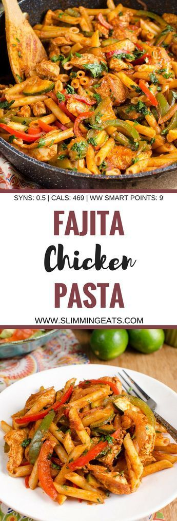 Slimming Eats Low Syn Chicken Fajita Pasta - gluten free, Slimming World and Weight Watchers friendly