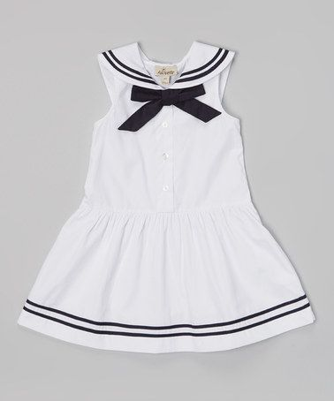 Another great find on #zulily! White & Navy Drop-Waist Sailor Dress - Toddler & Girls #zulilyfinds