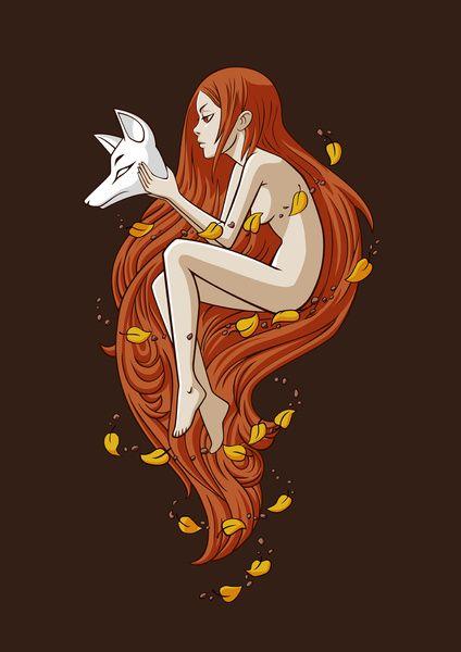Kitsune Art Print by Freeminds   Society6