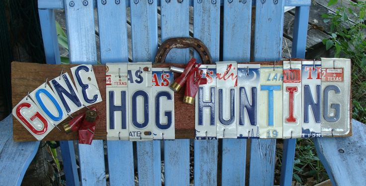Hog Hunting Gone Hog Hunting License Plate Hand Painted by dables, $50.00