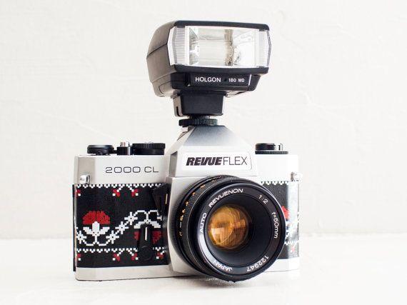 Revueflex 2000CL - functional vintage 35mm SLR camera, 50mm prime lens, European folk motif, + Bonus Flash & original neckstrap (Chinon CX)