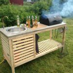 DIY Portable Barbecue. Might work great with our Traeger Junior. Just need to add a small gas burner as a stove top.