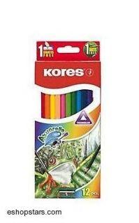 Farebné pastelky akvarelové , 36 farieb, trojhranné, KORES