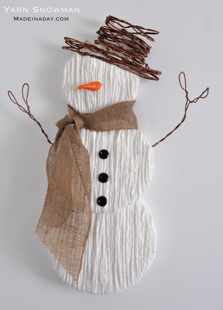 Step by step instructions on how to make my popular cute yarn snowman. Great winter decor and easy holiday craft. The look of burlap, natural materials, yarn