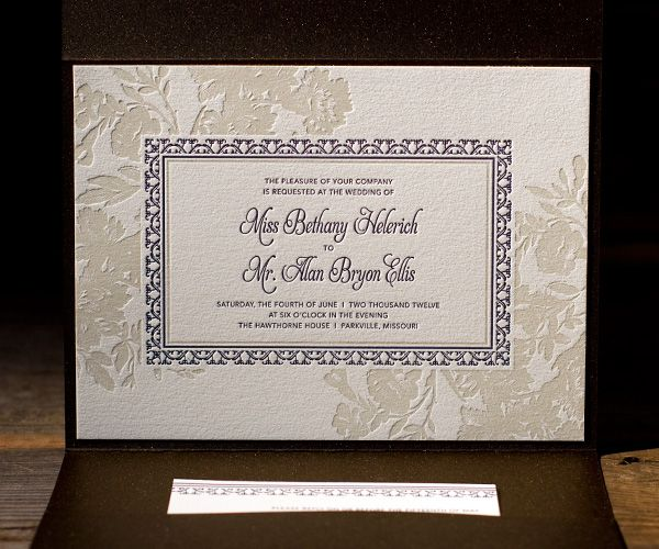Gorgeous combination of the art deco feel and the floral I was talking about.  This same invitation also has a beautiful coordinating reply card.