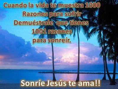 """REFLEXIONES PARA VOS: """"1001 RAZONES PARA SONREÍR"""" Descúbrelas en el blog: http://reflexionesparavos.blogspot.com/2015/06/1001-razones-para-sonreir.html?spref=tw #reflexionesparavos"""