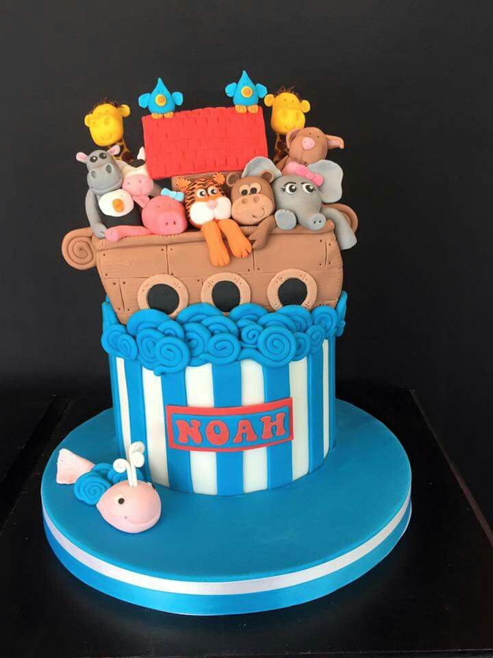 Noah's Ark cake was very appropriate for this little boys Christening