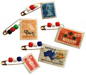Made from a Genuine Stamp from your choice of 12 countries. Find out if yours is available. From MakingFriends.com for World Thinking Day.